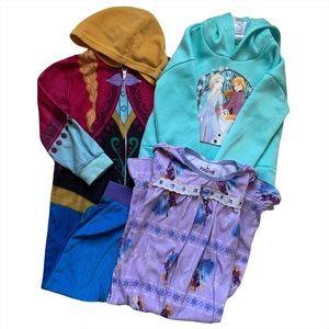 Lot of 3 Frozen Elsa Anna Size 4T Hoodie Pajama PJ